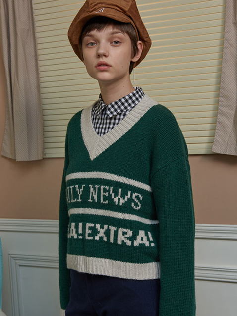 DAILY NEWS V NECK KNIT_green