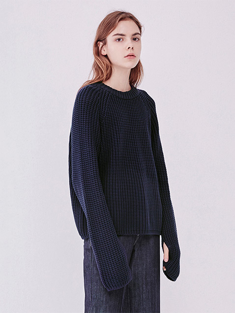 16FW LOOSE FIT KNIT TOP - NAVY