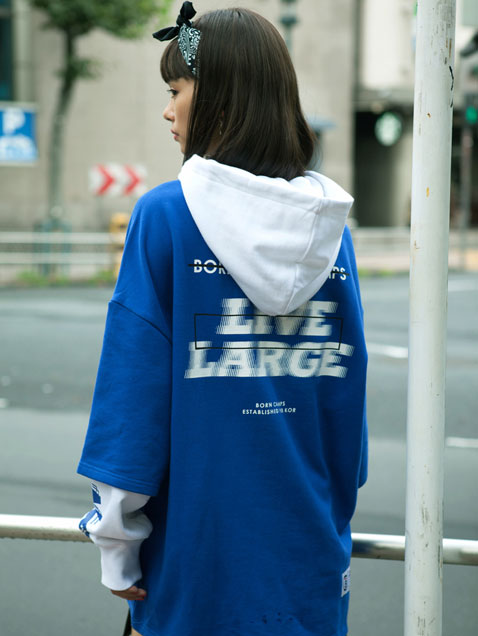 LIVE LARGE LAYERED HOOD BLUE
