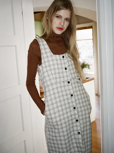 DREAM CHECK DRESS_WHITE