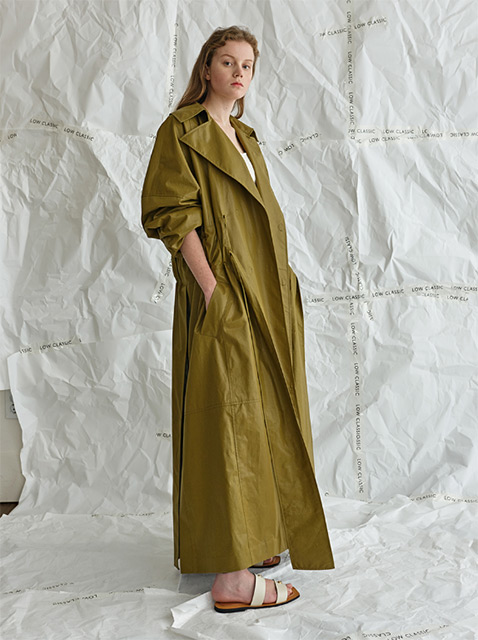 17SS COATING SHIRRING COAT - KHAKI