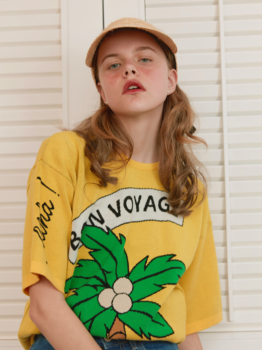 PALM TREE JACQUARD T-SHIRTS yellow