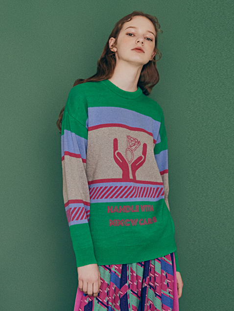 HANDLE CARE JACQUARD KNIT/GREEN