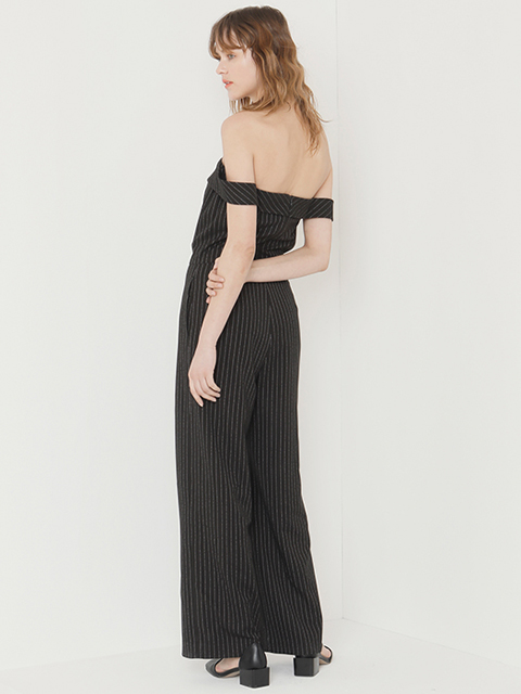 17SS OFF SHOULDER OVERALL stripe