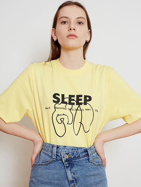 17 SPRING LOCLE SLEEP BEAR PRINT TEE - YELLOW