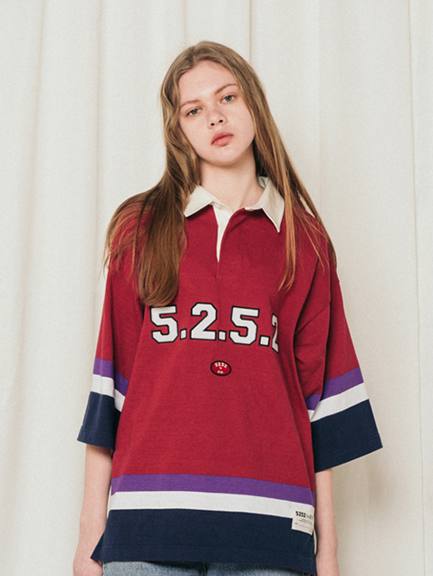5252 COLLAR T- Shirts_red