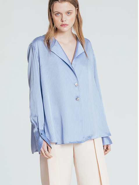 Silky Stripe Collar Shirt bl