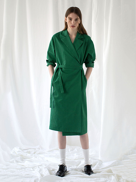 Wrap Trench Coat green