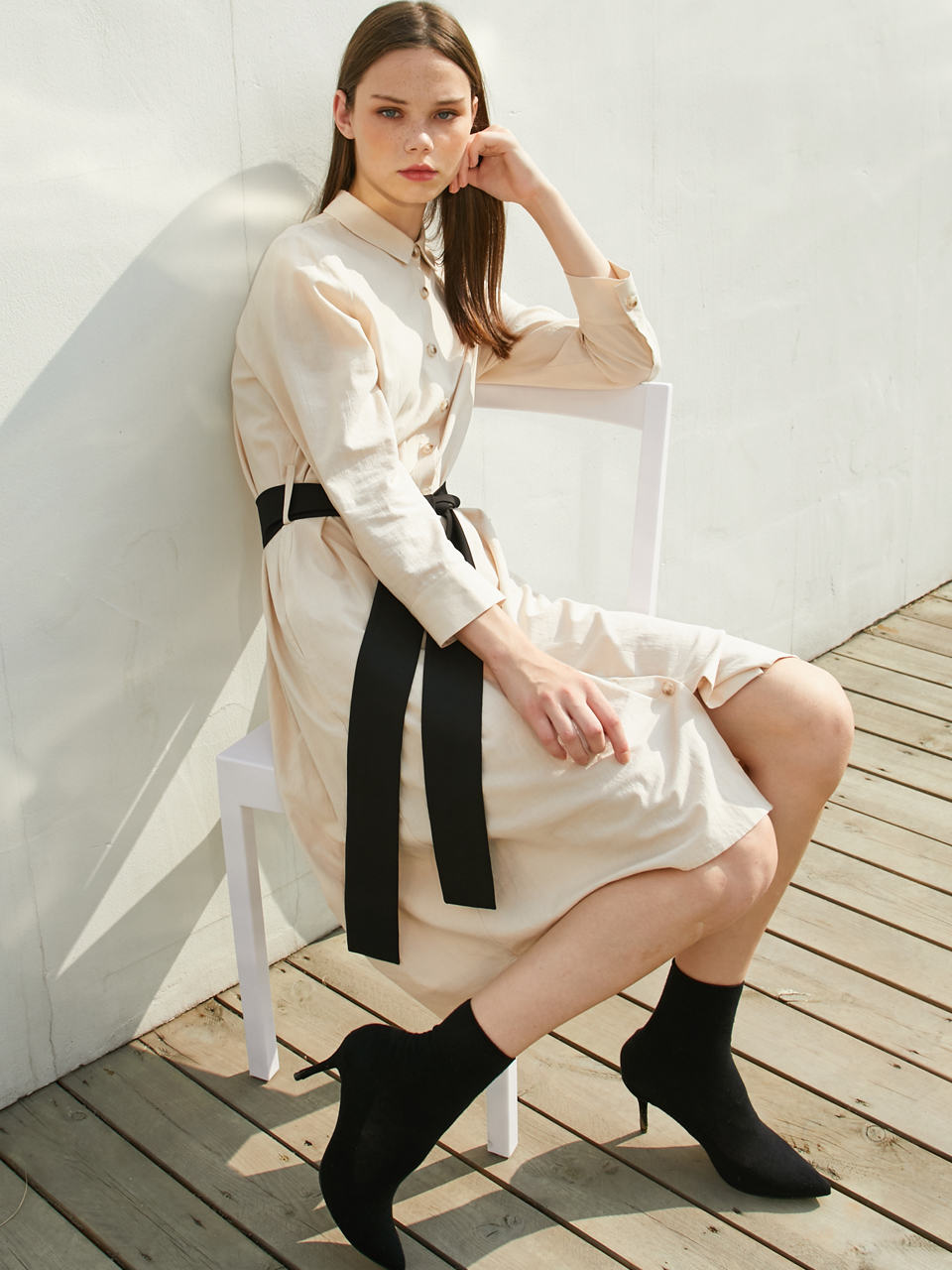 IVORY BELTED DRESS-IVORY