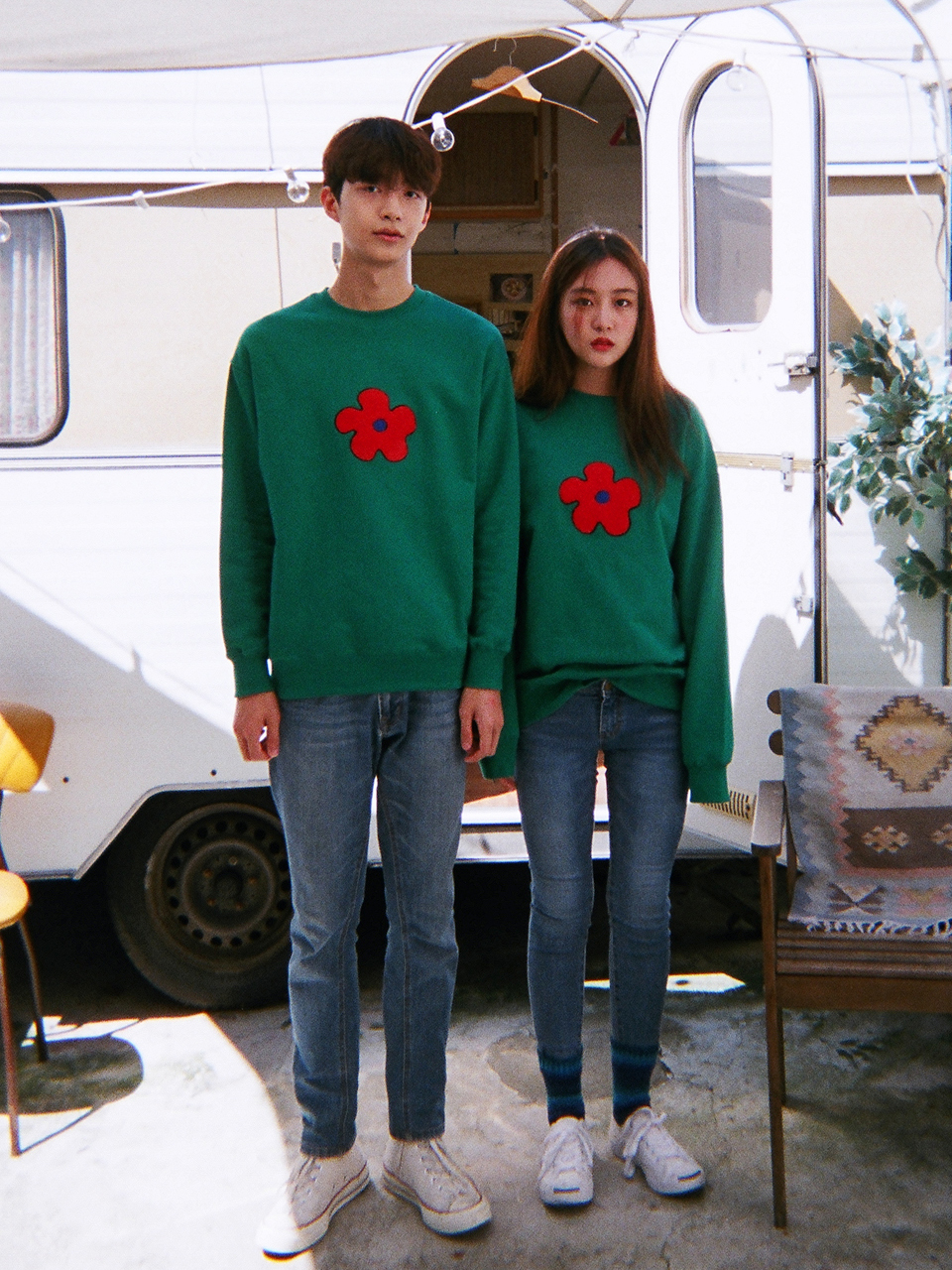 Boucle Flower Sweatshirt (Green)