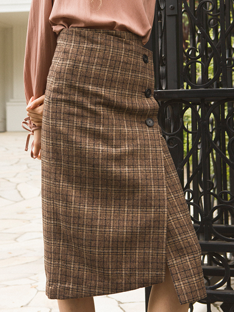 monts527 check wrap midi-skirt