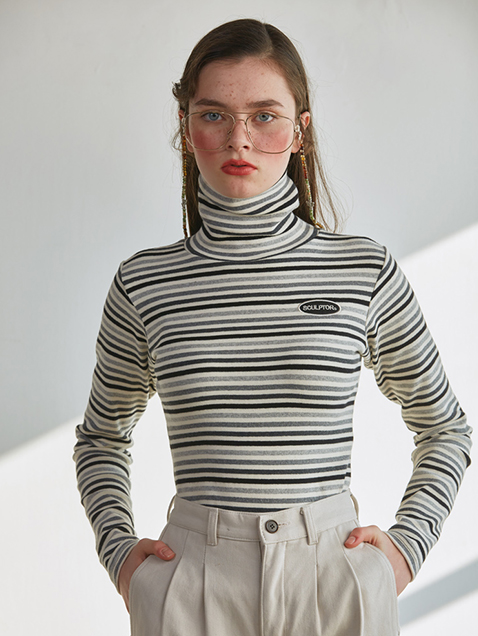 C-LOGO STRIPE TURTLENECK - IVORY, PINK, NAVY, BROWN
