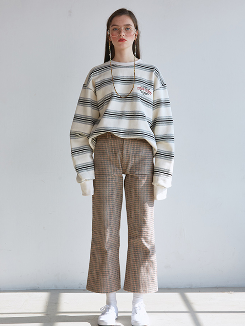 WIDE LEGGED CHECK PANTS  - BEIGE, BRICK, BROWN