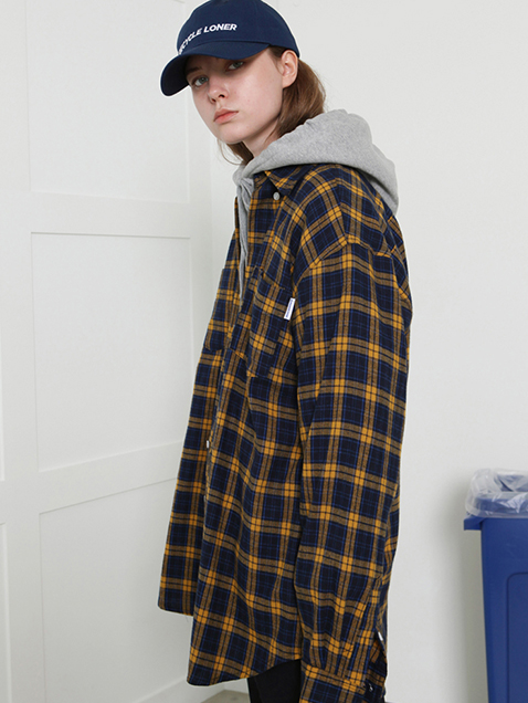 Recycle check shirts-yellow