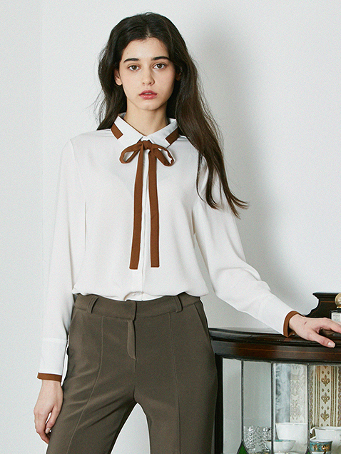 BROWN COMBI SHIRT _WHITE