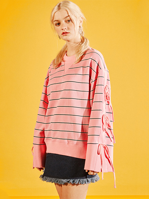STRIPE RIBBON LACE UP SWEAT SHIRT-PINK