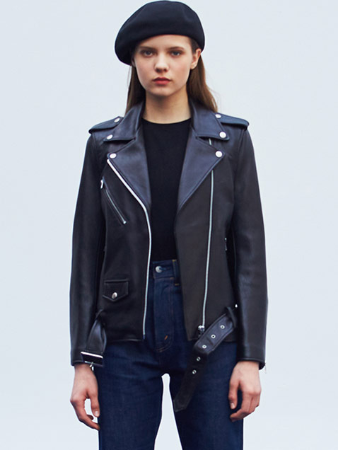 WOMENS LAMB SKIN RIDERS JACKET HS [BLACK]