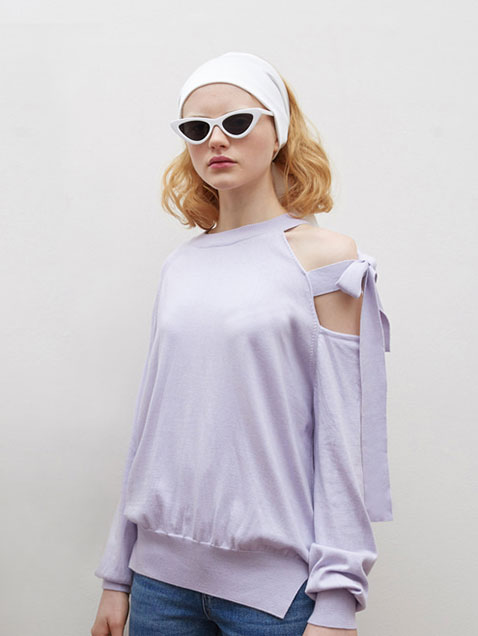 SLIT RIBBON KNIT_light purple