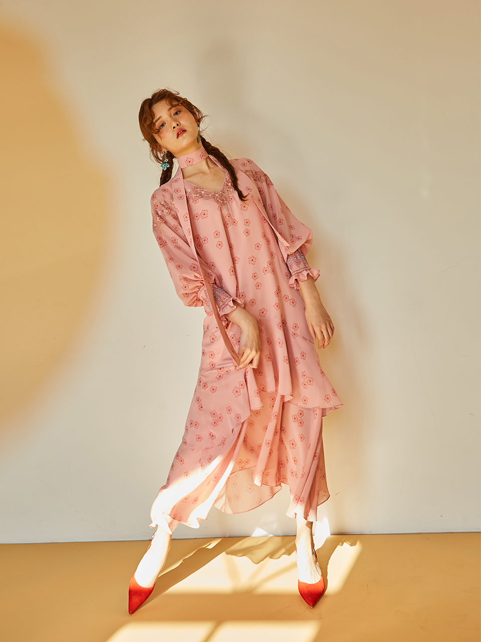 SMOCKING SLEEVE PLEATS DERSS_LIGHT PINK