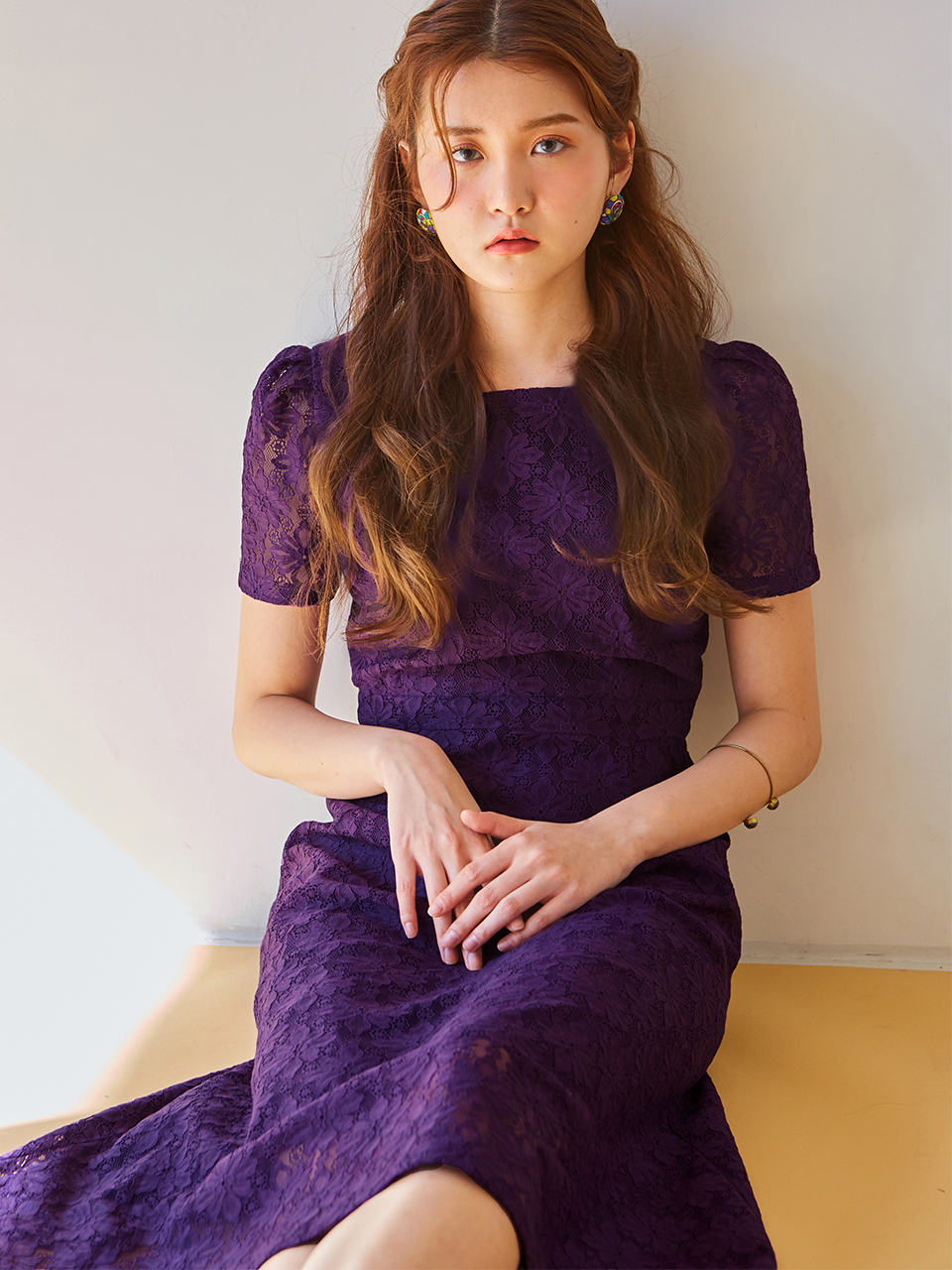 SQUARE NECK LACE DRESS_PURPLE