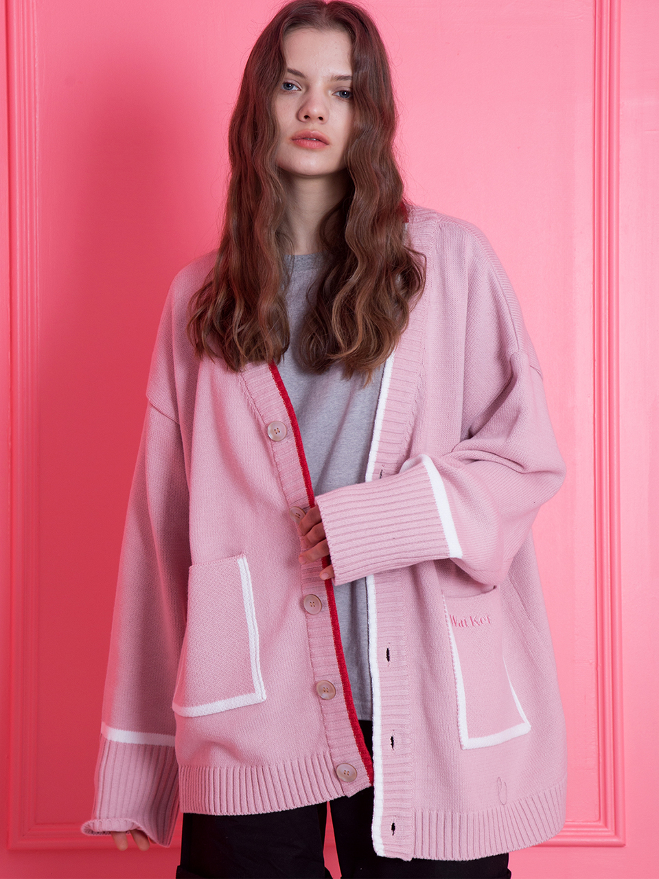 WaiKei Oversize Cardigan_Light Pink