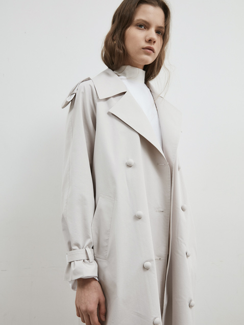 18' SPRING_Ivory Oversized Trench Coat