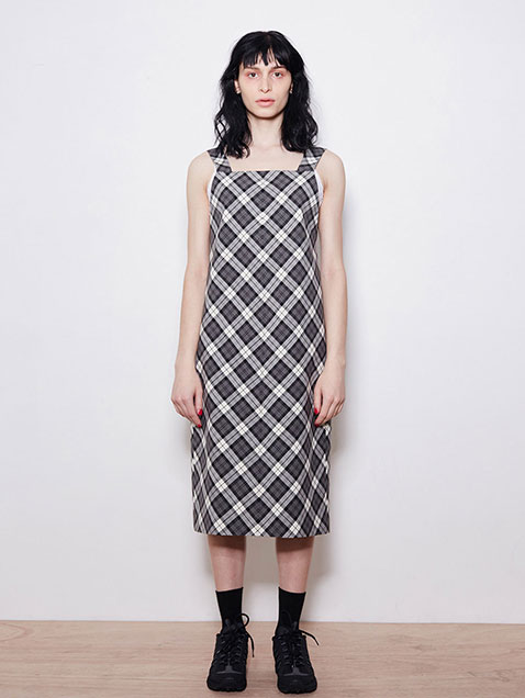 18 SPRING LOCLE CHECK SLEEVELESS DRESS - BLACK CHECK