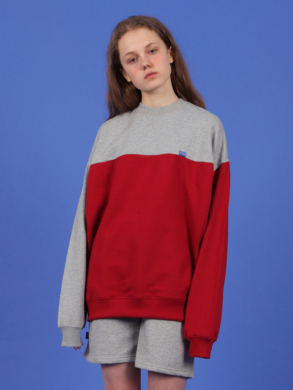 Ncover half color sweatshirt-red