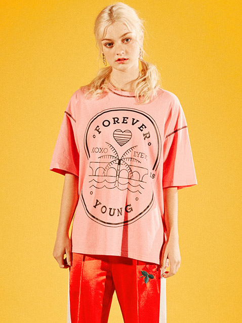 FOREVERYOUNG STAMP T SHIRT_PINK (EEOG2RSR04W)
