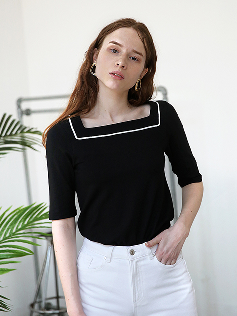Black Square Neck T