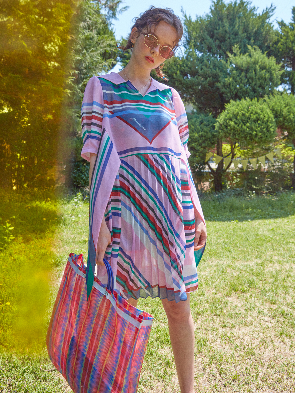 SCARF FLY DTP DRESS/PINK