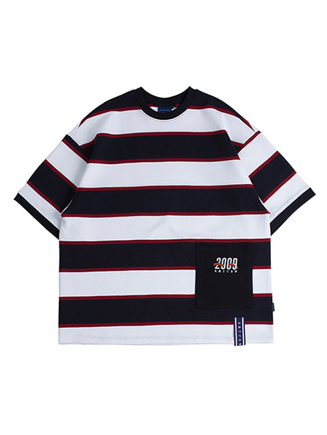 Stripe Pocket T Shirt_Navy