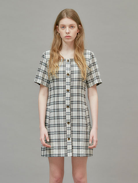 18 SUMMER LOCLE SQUARE NECK MINI DRESS - CHECK